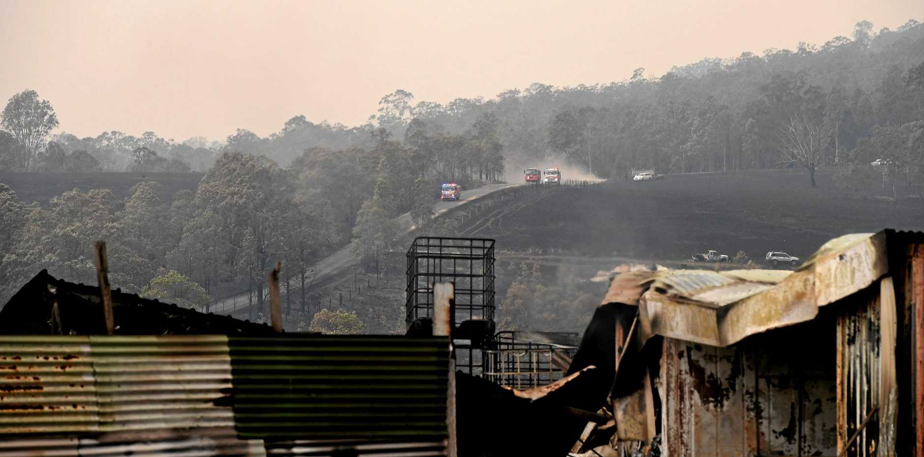 Devastation as fire sweeps through the paddocks and structures surrounding Tabulam.