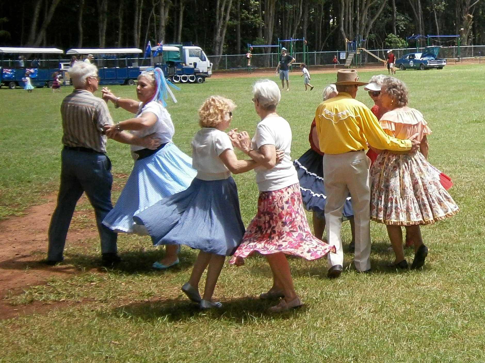 A square-dancing display.