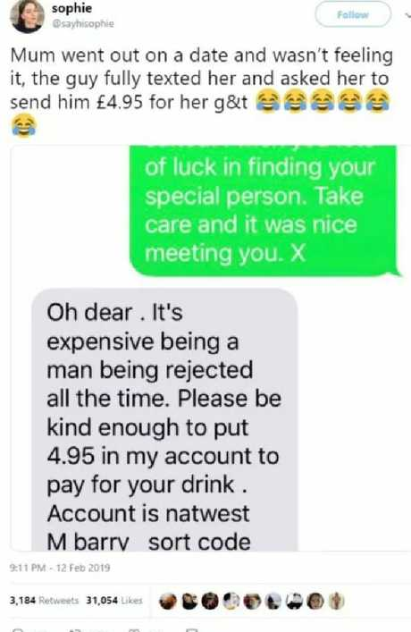 Being rejected is expensive, according to the man.
