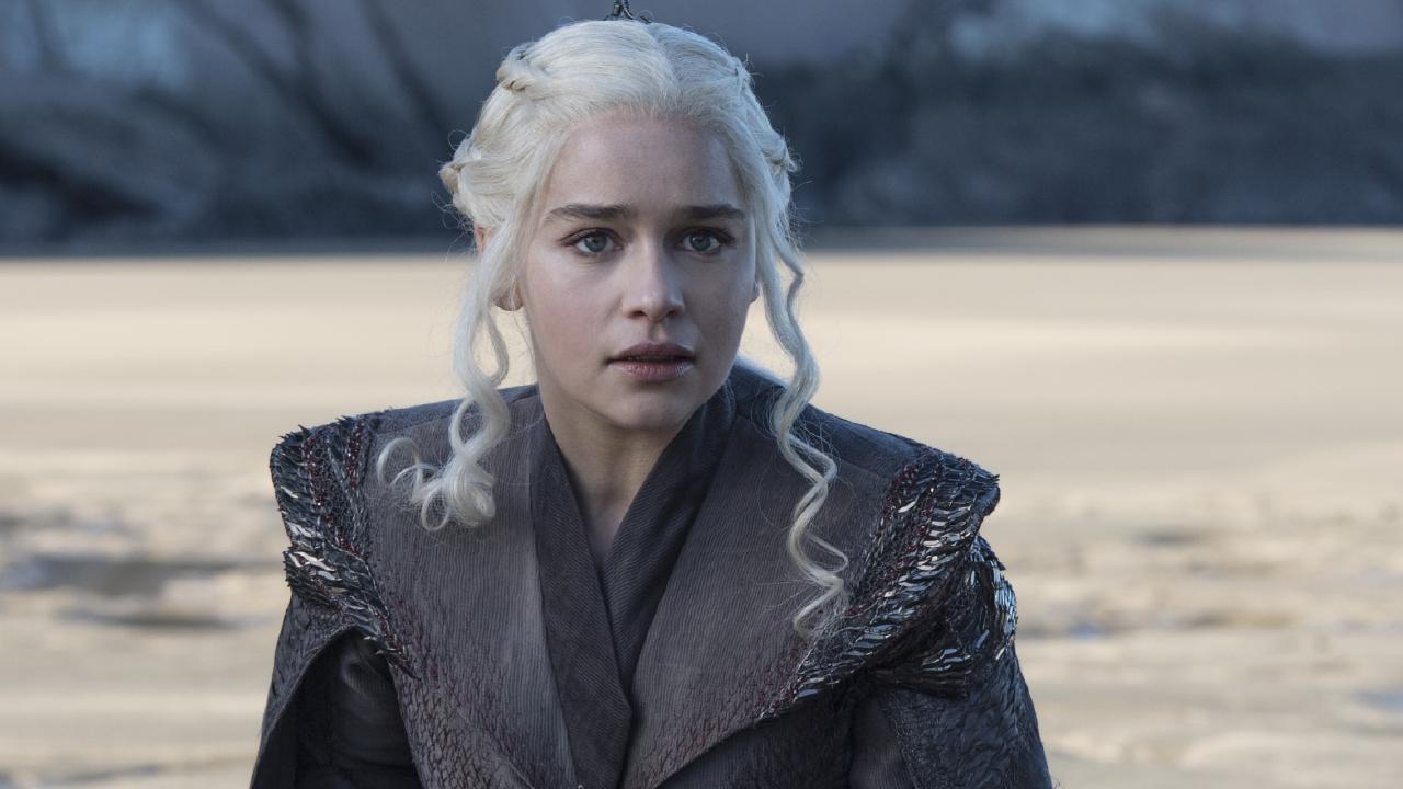 Emilia Clarke as Daenerys on Dragonstone Beach in Game of Thrones season 7 episode one.