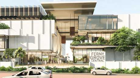 An artists impression of Ferny Grove Central proposed for the Ferny Grove railway station that will add hundreds of parking spaces for commuters