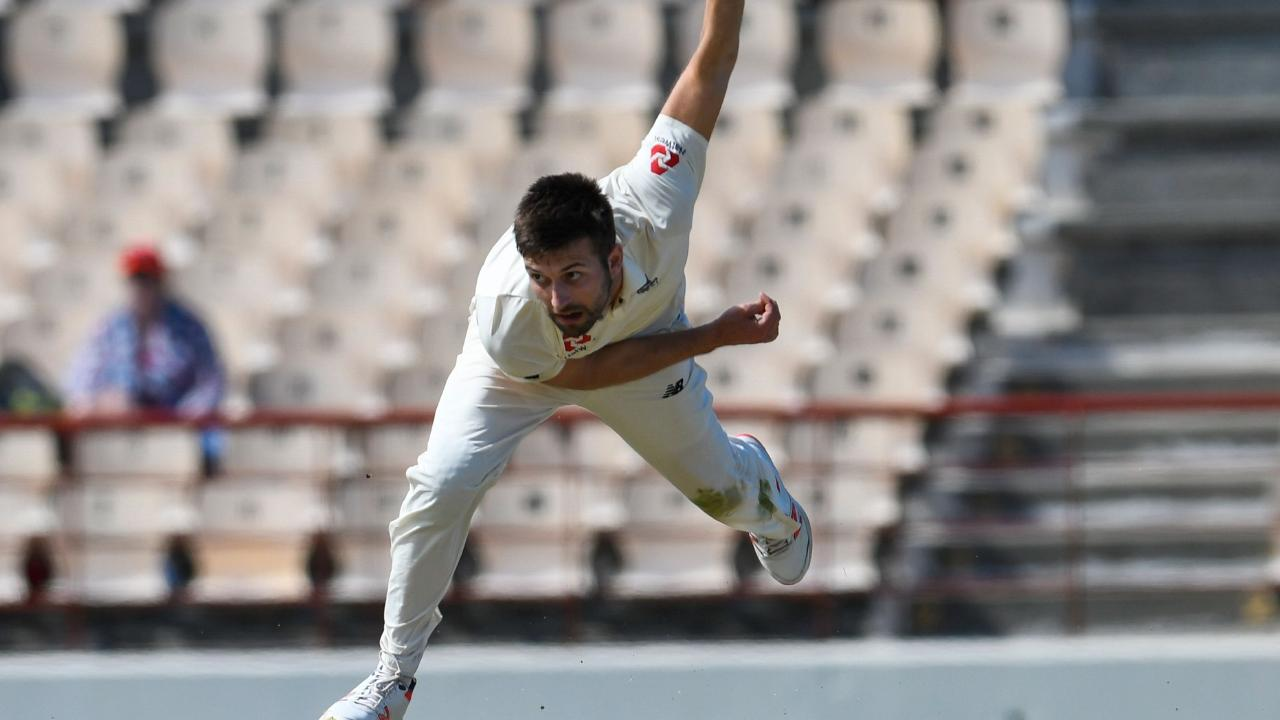 Mark Wood bends his back during the third Test between the West Indies and England in Saint Lucia. Picture:  Randy Brooks/AFP