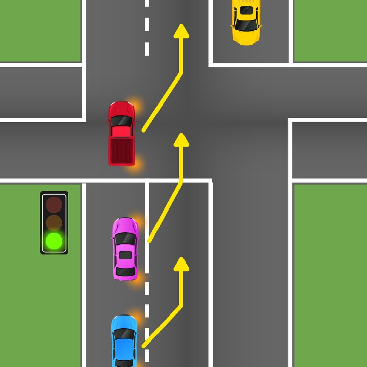 Which car is trying to illegally change lanes? Picture: RACQ