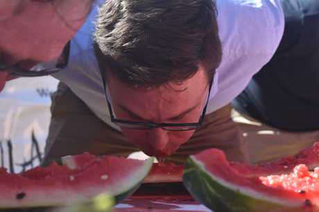 Maranoa MP David Littleproud, Melon Celebrity Eating, Chinchilla Melon Fest, 2019.