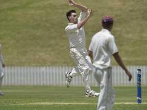 Jacob Waters bowls for against Ipswich Grammar School