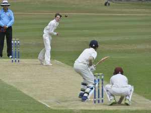 Lachlan Bell bowls for against Ipswich Grammar School