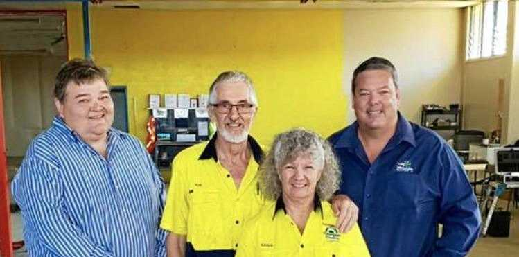 DRAWCARD: Councillor John Collins, Ron and Karen Harris and Whitsunday Regional Council Mayor Andrew Willcox at the site of the approved Proserpine entertainment complex.