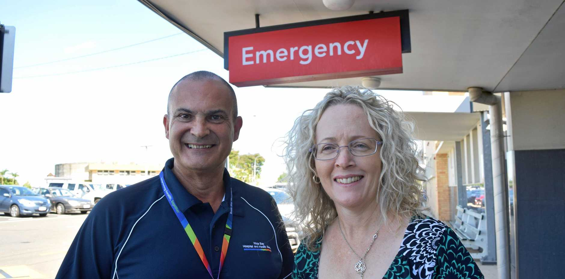 GOING ABOVE AND BEYOND: Wide Bay Hospital and Health Service chief executive Adrian Pennington and board chair Peta Jamieson.