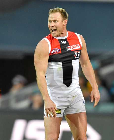 David Armitage of the Saints reacts after scoring a goal during the Round 16 AFL match between the Port Adelaide Power and the St Kilda Saints at Adelaide Oval.