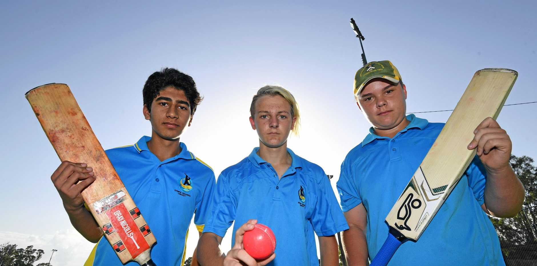 NEXT CHALLENGE: Gympie Regional Cricket juniors Saif Malek, Nathaniel Bailey and Connor Franz prepare for next competition.