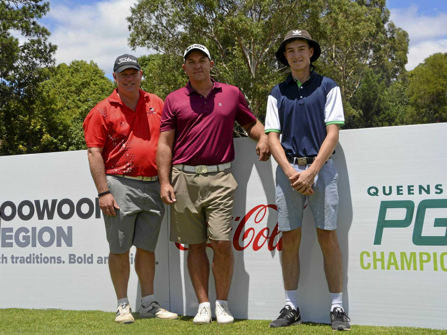 Toowoomba trio (from left) Mark Ryle, Anthony Timms and Quinn Croker are preparing for their start in this week's Coca-Cola Queensland PGA Championship at City Golf Club.