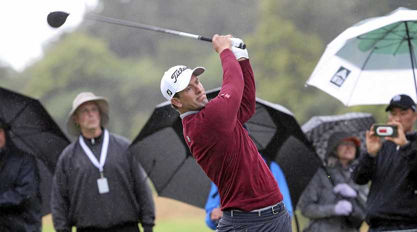 Adam Scott drives on the 18th tee during the second round of the Genesis Open at Riviera Country Club, Los Angeles. Picture: Reed Saxon/AP