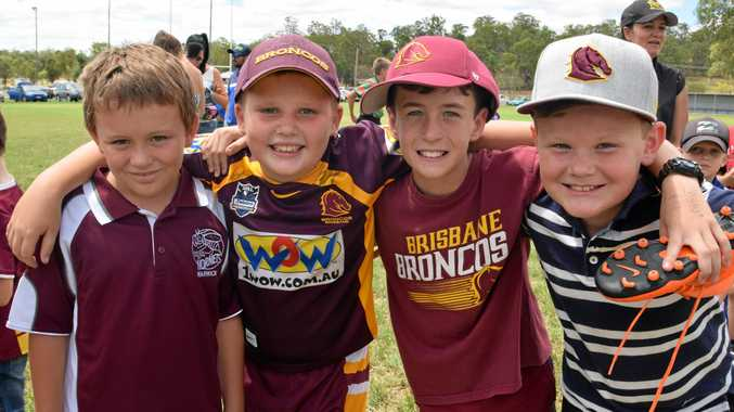 Harrison Finnigan, William Ryan, Hunter Evans and Reid Anderson at the Broncos Training Clinic at Eastern Suburbs Oval which was before the two Toowoomba games against Brisbane Wests and the Broncos clash with Souths Logan.