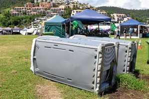 Vandals push over toilets