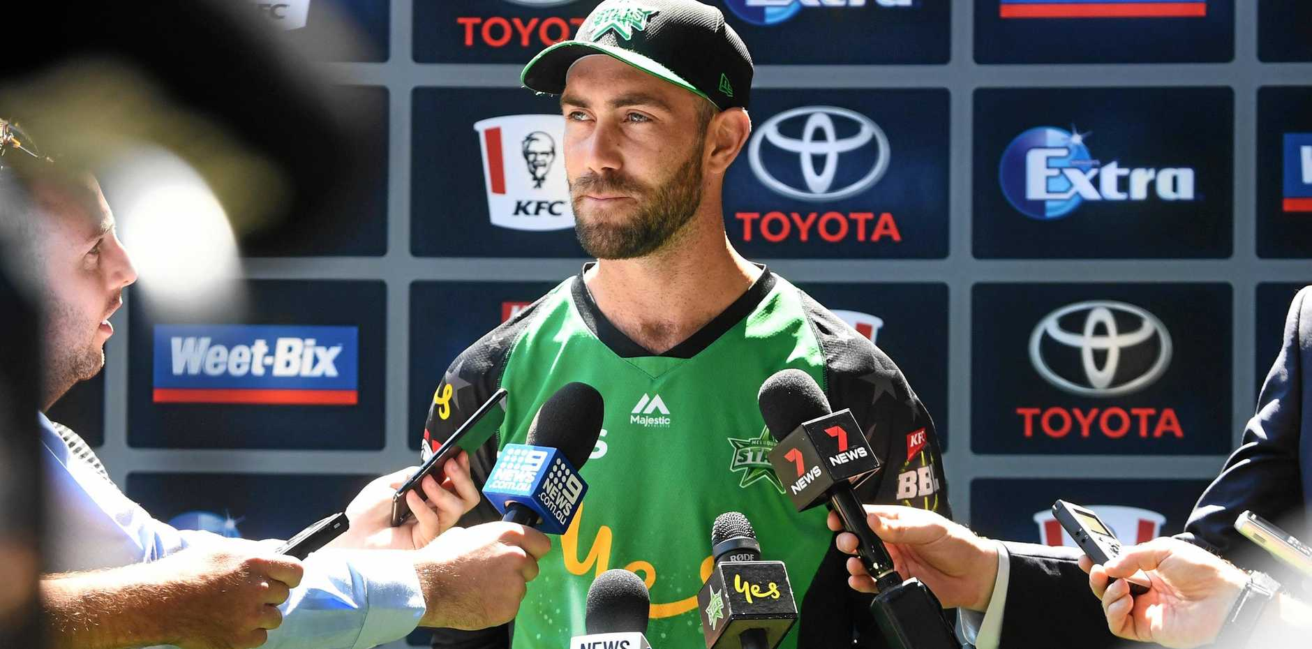 Melbourne Stars skipper Glenn Maxwell field reporters' questions on Saturday. Picture: James Ross/AAP