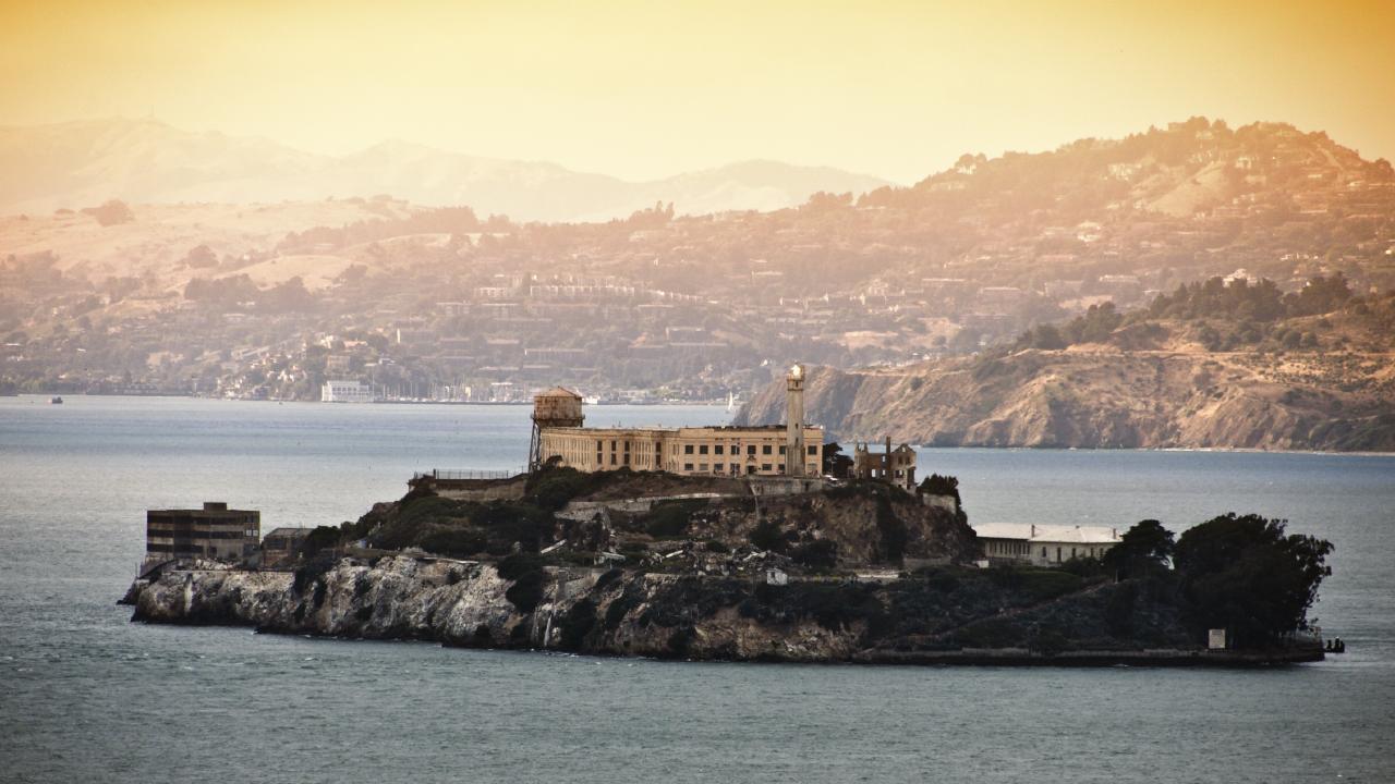 Alcatraz prison is located on an island in San Francisco Bay.