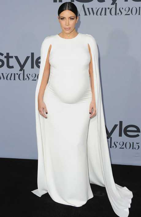 Kim Kardashian in Valentino. Picture: Jon Kopaloff/FilmMagic