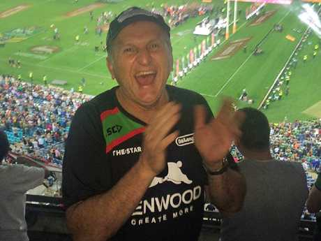 Madeleine and Stephanie Brooks lost their dad Rocky to a heart attack nine months ago. Here he is at the Rabbitohs 2014 Grand Final in October 2014. Picture: Supplied