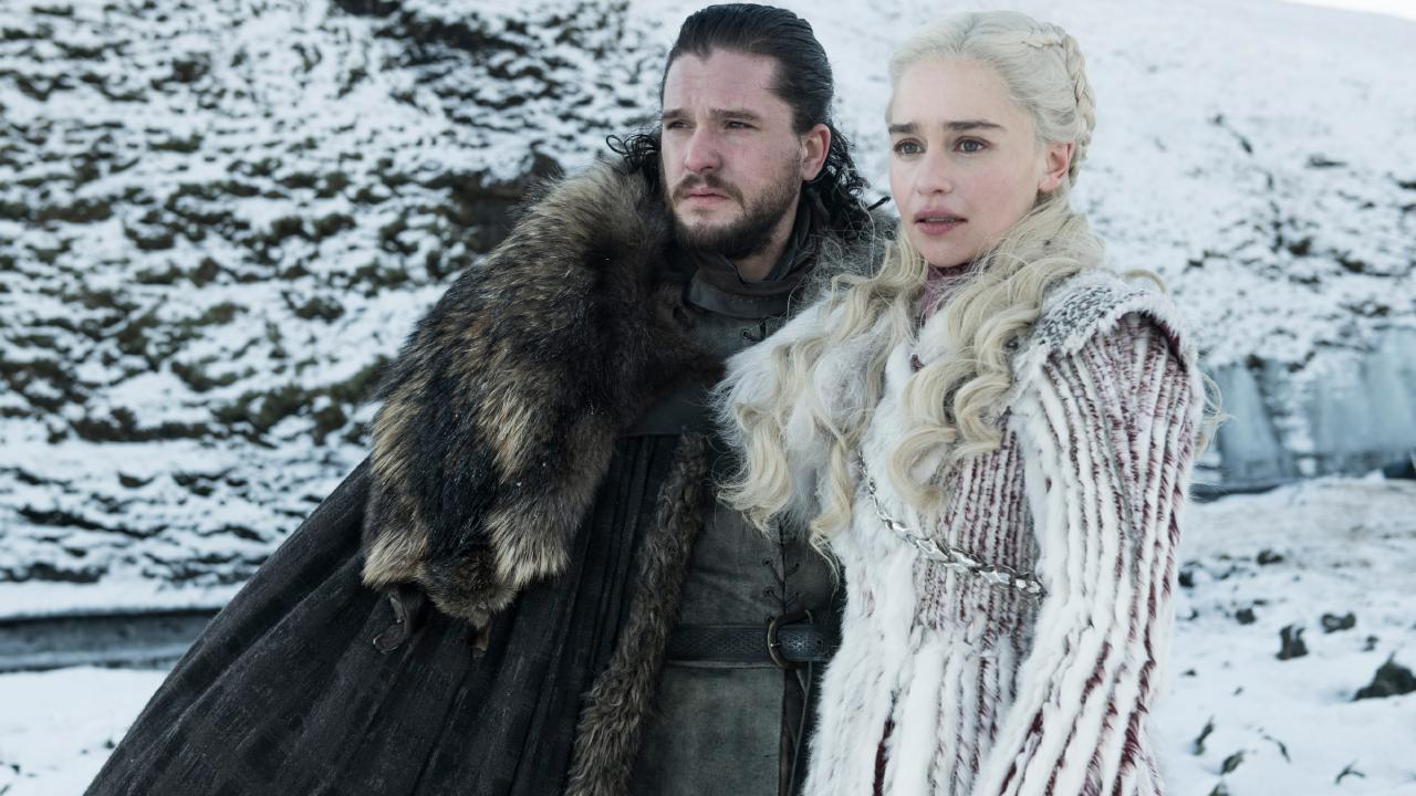First look at The Final Season (8) of Game of Thrones Kit Harington as Jon Snow and Emilia Clarke as Daenerys Targaryen — Photo: Helen Sloan/HBO