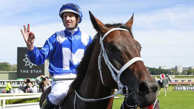 Hugh Bowman on Winx returns to scale after winning race 6 of the Star Apollo Stakes at Royal Randwick. Picture: Getty Images