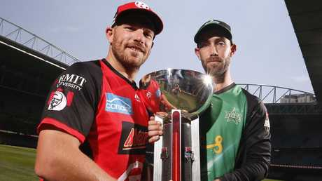 Aaron Finch of the Melbourne Renegades and Glenn Maxwell