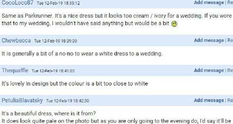 Commenters are divided on whether it's okay to wear the dress to the wedding reception, with some saying it's not worth the risk of upstaging or upsetting the bride. Picture: Supplied