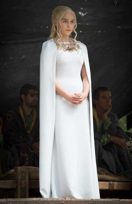 White hot! Emilia Clarke as Daenerys Targaryen in THAT cape dress. Picture: Foxtel