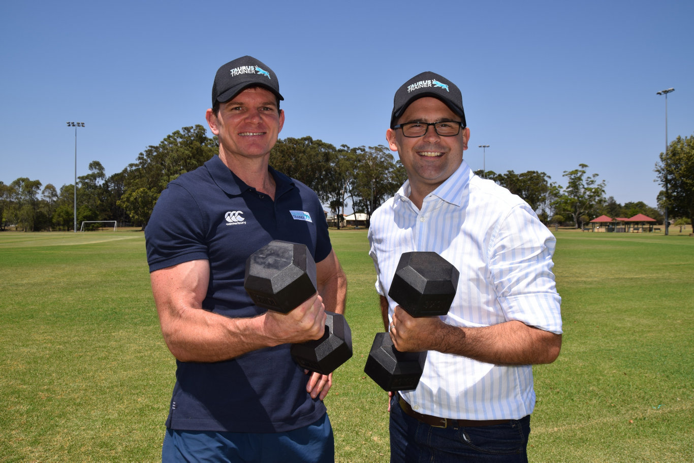 Exercise physiologist Steve Roberts and Member for Toowoomba South David Janetzki MP would like to see more adult exercise equipment in the city's parks.