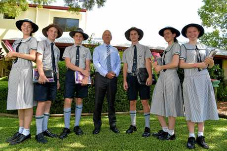 RECORD RESULTS: Buderim school Matthew Flinders Lutheran College scored record student OP results with their 2017 graduates and is preparing the next bunch of school-leavers for the same success.Ally Stevens, Dante Squassoni, Piers Herring, Principal Stuart Meade, Angus Faint, Alana Grimley and Holly Edmondson ready for the new school year.