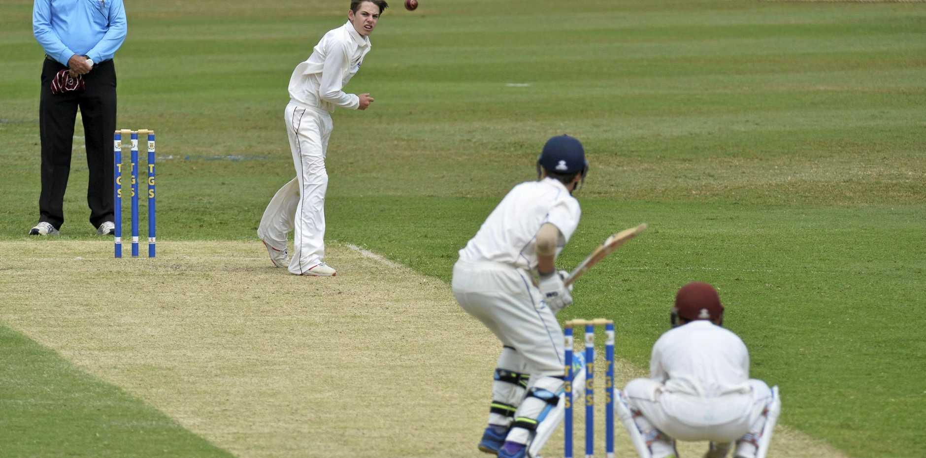Lachlan Bell bowls for against Ipswich Grammar School against Toowoomba Grammar School in GPS Competition round three cricket at Toowoomba Grammar School, , Saturday, February 16, 2019.