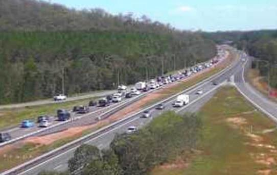 Motorists are facing delays of up to 30 minutes due to the heavy traffic congestion, seen here at the Glass House Mountains.