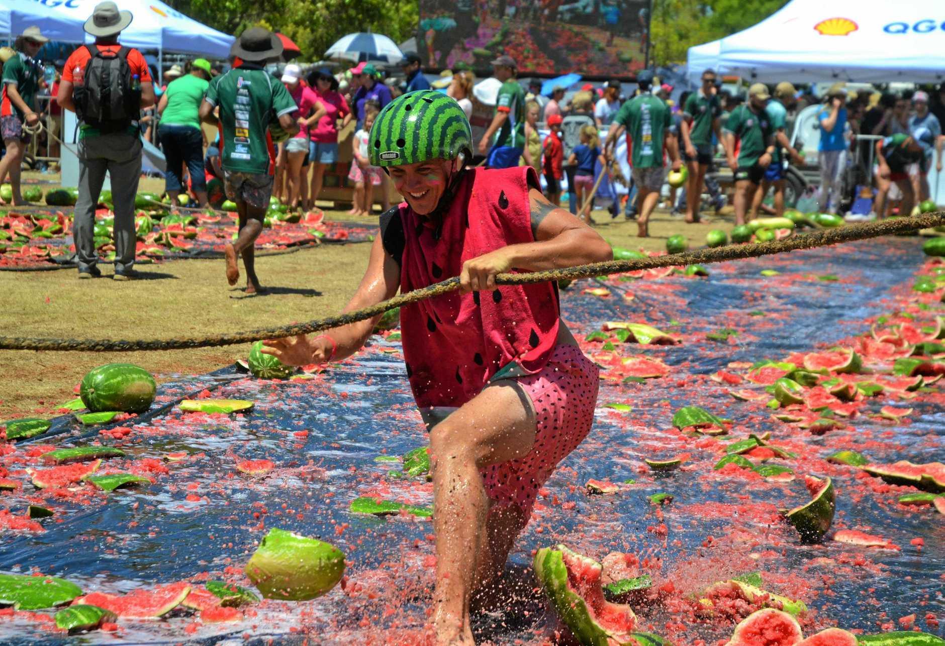 SLIPPING GOOD FUN: Kris Crews at the melon skiing event at the 2019 Chinchilla Melon Festival.