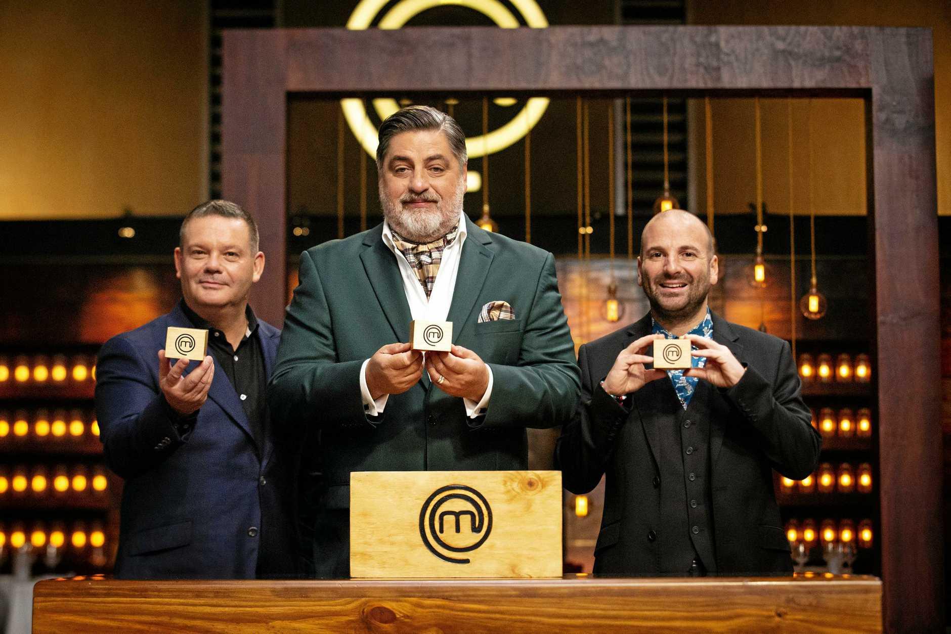 Gary Mehigan, Matt Preston and George Calombaris set a mini mystery box challenge on MasterChef. Supplied by Channel 10.