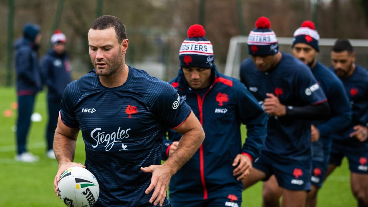 NRL premiers the Sydney Roosters training in France with local side Toulouse. CREDIT: Roosters Digital