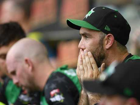 Stars skipper Glenn Maxwell looks on after the stunning defeat.