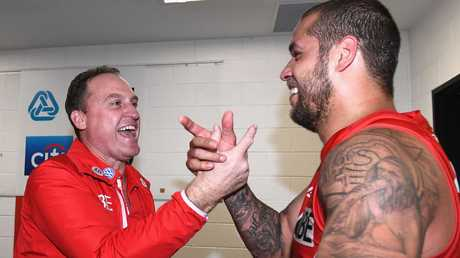 John Longmire and Lance Franklin have a great understanding. Picture: Getty Images