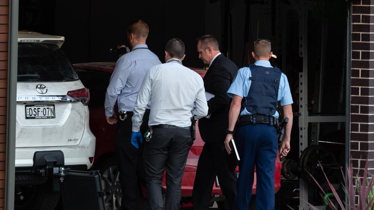 Police outside the Schwartz. Picture: Monique Harmer