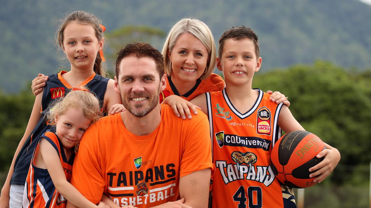 Retiring Taipans captain Alex Loughton with his wife Michelle and kids Ivy 6, Georgia 10 and Liam 8. PICTURE: ANNA ROGERS