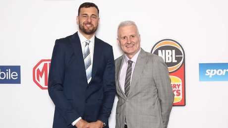 Andrew Bogut and Andrew Gaze of the Sydney Kings pose during the 2019 NBL Gala Dinner at Crown Palladium. Picture: Scott Barbour/Getty Images