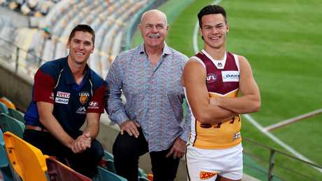 Simon Black, Leigh Matthews and Cam Rayner at the Gabba. Picture: Tara Croser