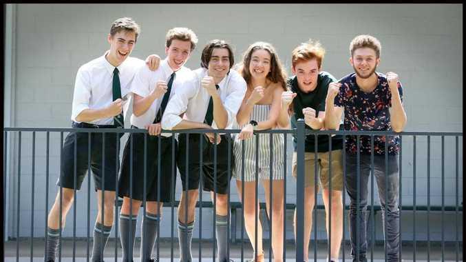 The Gap State High School's Darcy Spurway, 16, Levi Hockey, 16, Campbell McFadden, 17, Sophie Watson, 17, Zach Thomas, 16, Tariq Soliman, 16. Picture: Jamie Hanson