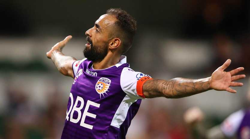 Diego Castro celebrates after scoring Perth's fourth goal. Picture: Getty Images