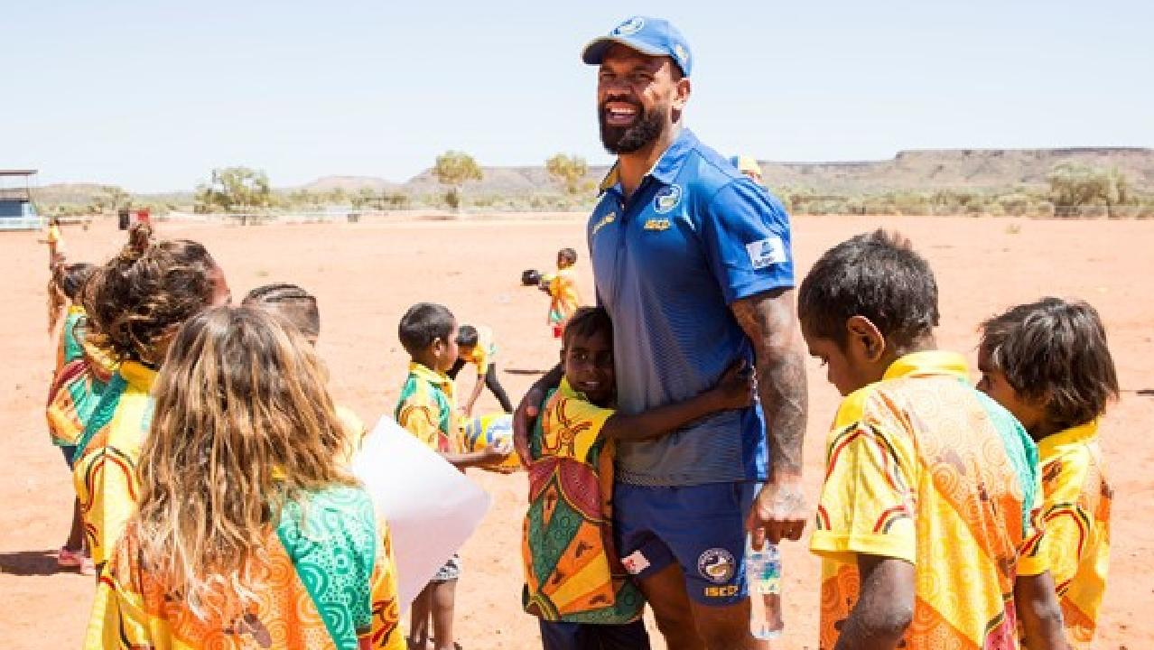 Parramatta forward Manu Ma'u at a community camp in Northern Territory.