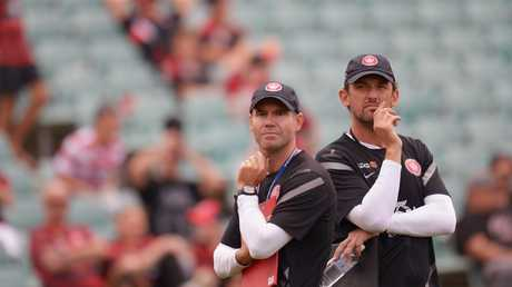 (L-R) Ante Milicic and Tony Popovic during their stint at the Wanderers. Picture: Brett Hemmings/Getty Images