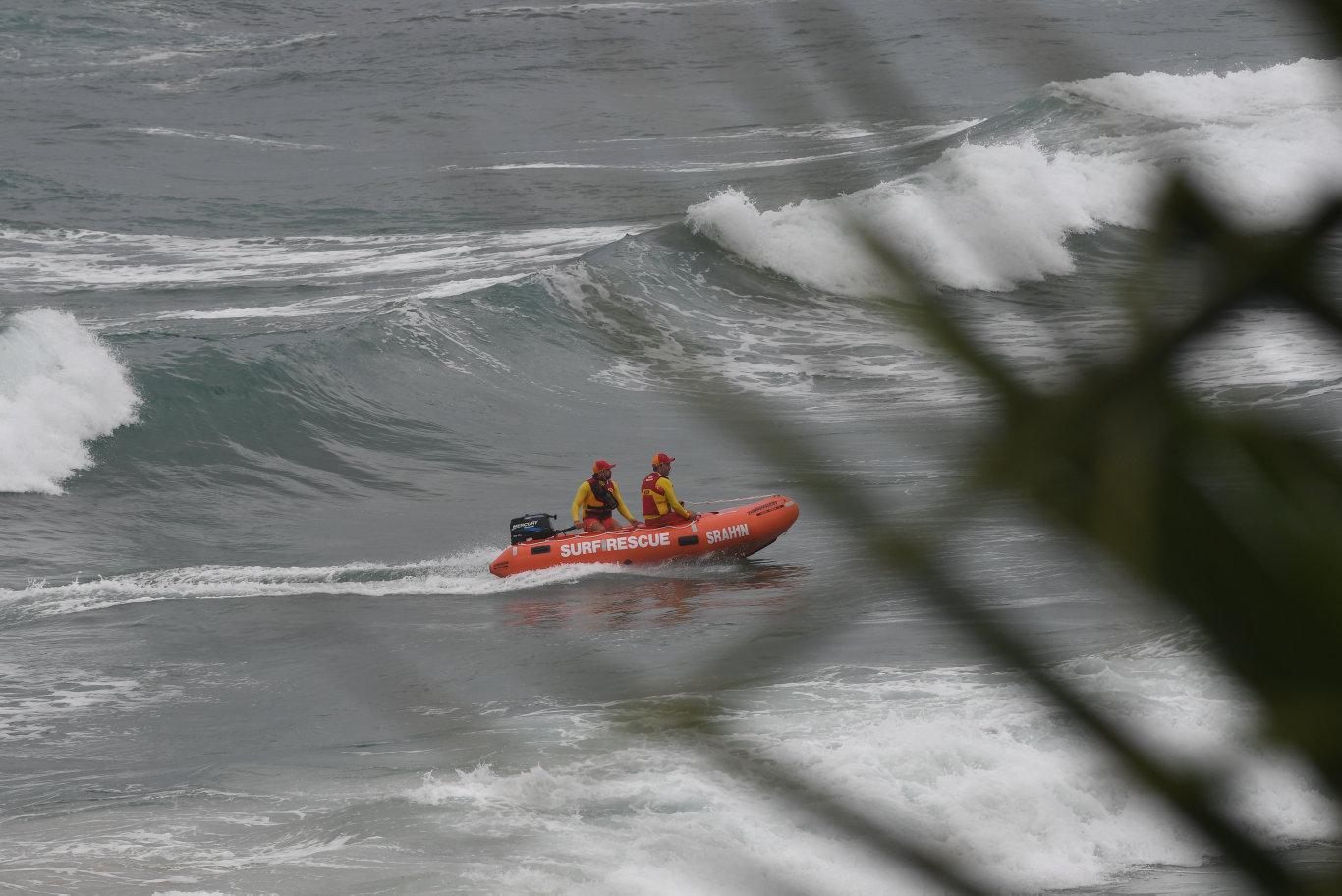 Ballina surf lifesavers conducting water searches for Raz Burtonwood at Lighthouse Beach in Ballina.