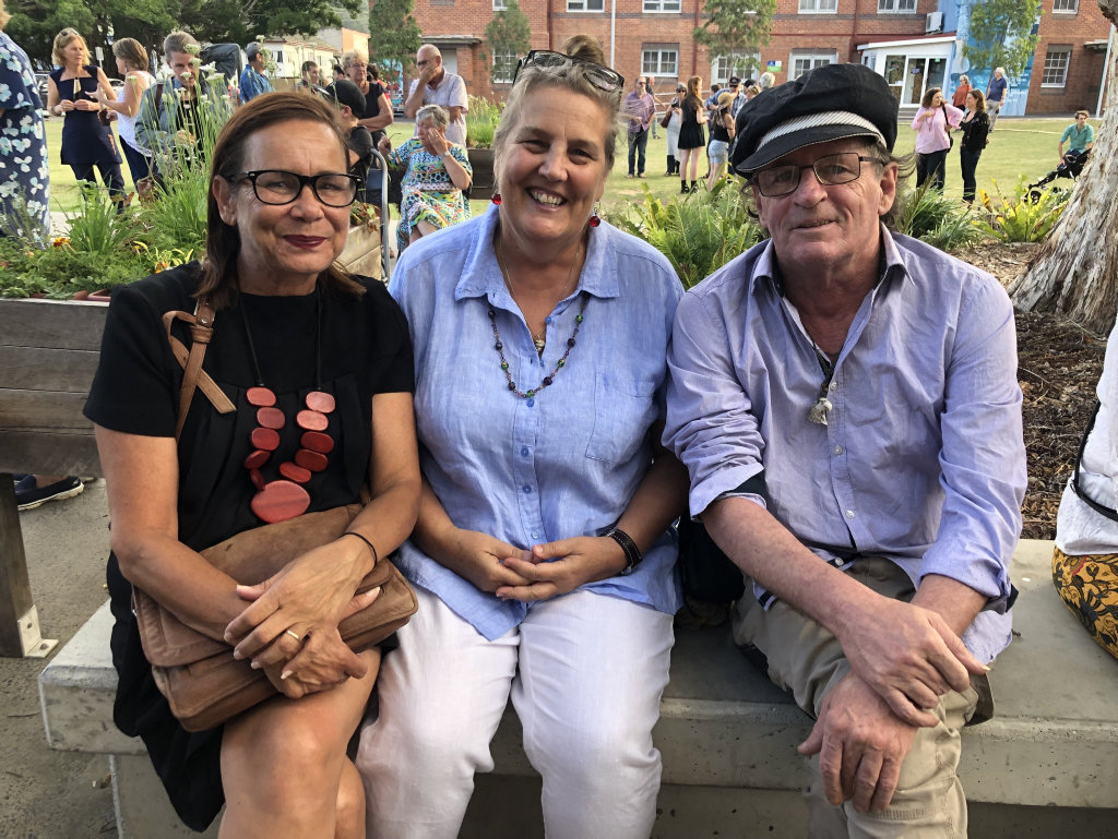 Image for sale: Rhoda Roberts with Kathy Owen and Anthony Smith at the exhibition of the opening of The Terania Creek Protest at The Lismore Regional Gallery.