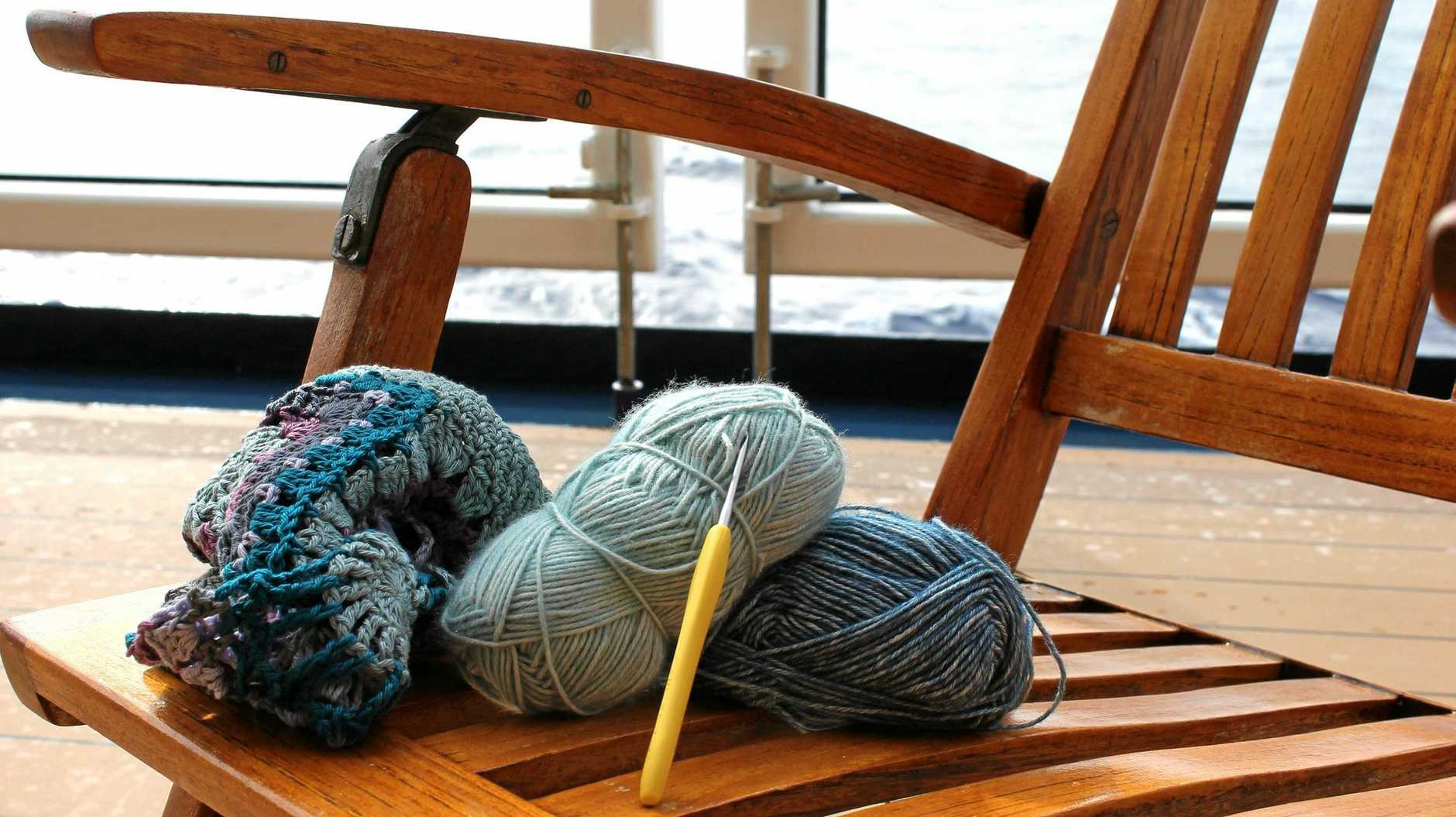 CRAFTY CRUISING: Crochet is enjoying a revival as a simple, calming activity which can be enjoyed while cruising onboard Celebrity Solstice.