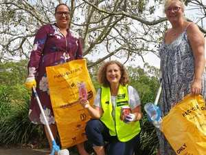 Tiana Tipene, McDonald's Greater Springfield Marketing manager, Springfield Lakes Nature Care President Luise Manning and Springfield resident Catie Fitzpatrick clean up at Spring Lake.