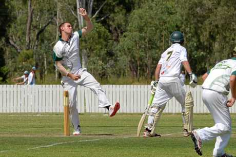 Frenchville's Cal McMahon charges in against Gracemere on Saturday.