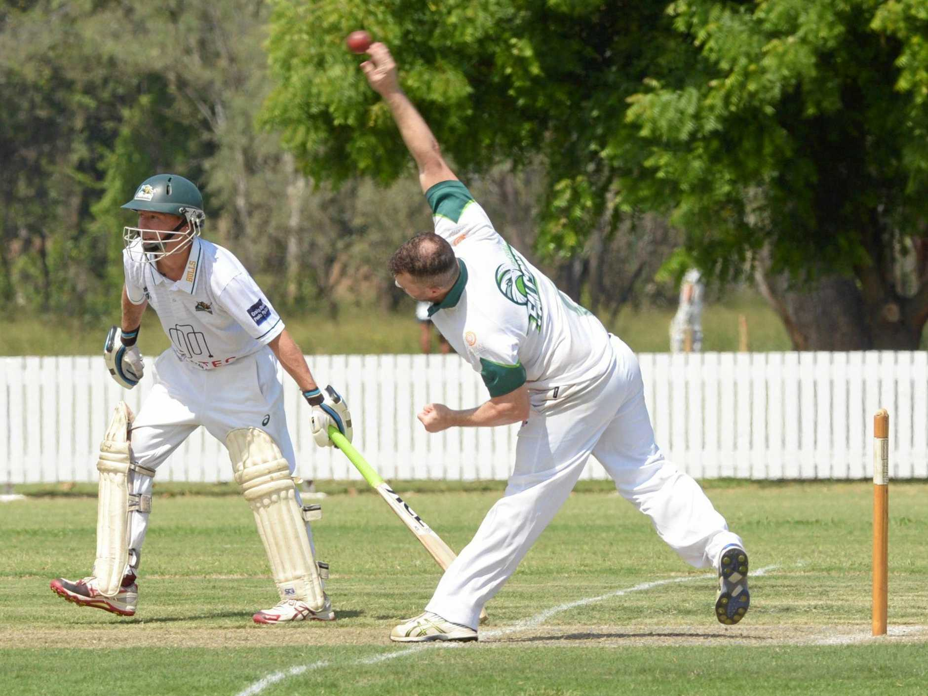 READY TO RUN: Gracemere's Aaron Harmsworth is poised for a quick run as Frenchville's Joe Burke bowls in the Capricorn Challenge game at the Rockhampton Cricket Grounds on Saturday